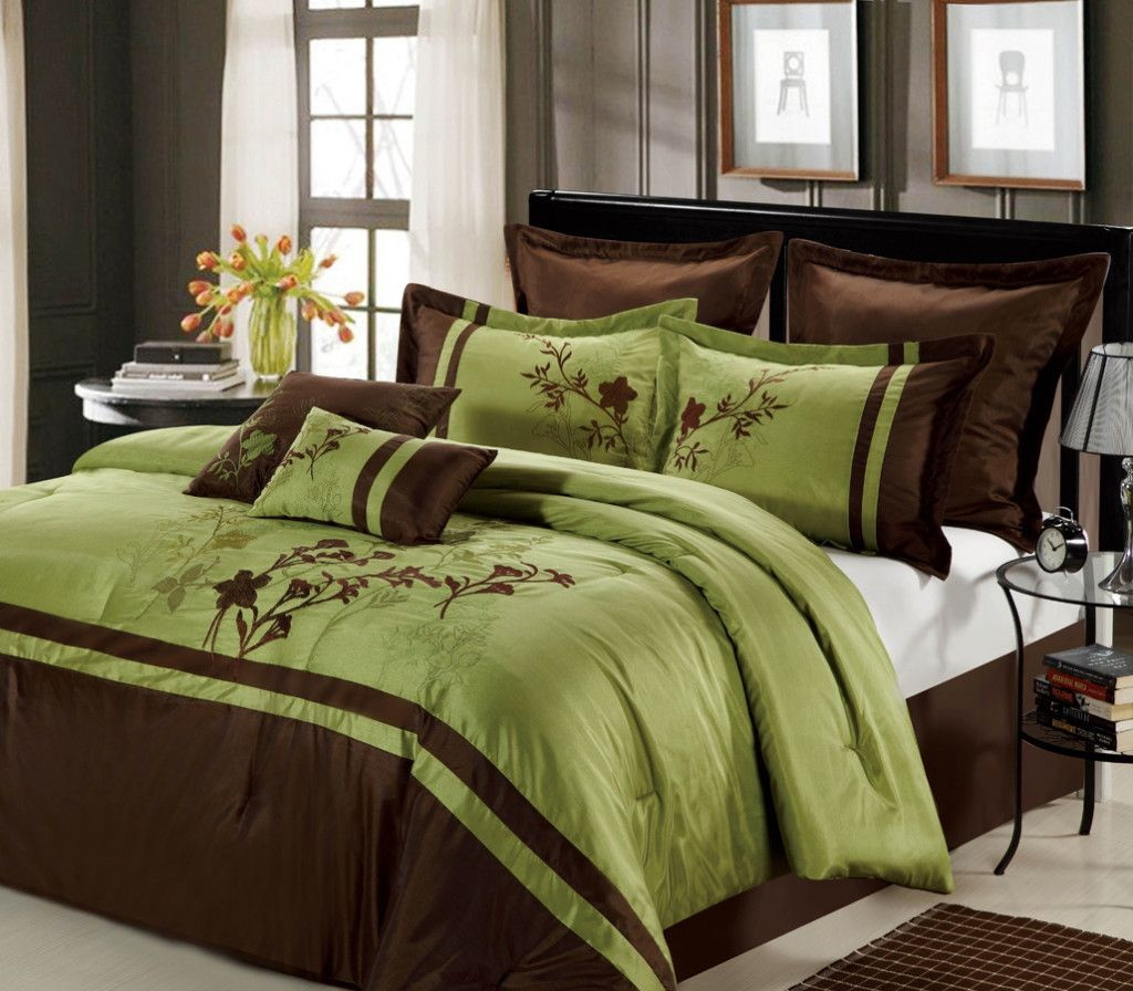 Outrageous Green And Brown Bedroom: Details About 12pc Bed In A Bag Toronto- Green/ Chocolate