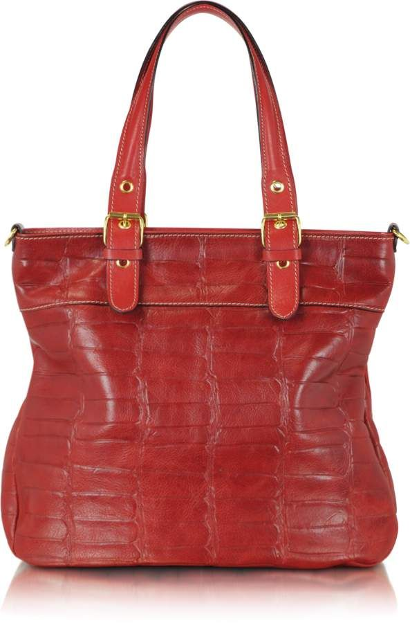 39deaccd1ea0 Robe Di Firenze Red Croco Stamped Italian Leather Tote | Products