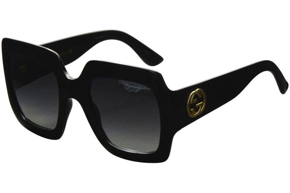 76cb8380d6 Gucci Women s Urban Collection GG0053S 0053 S 001 Black Gold Square  Sunglasses designer fashion