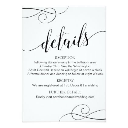 Elegant Typography Wedding Details Enclosure Card - script gifts - dinner invitations templates