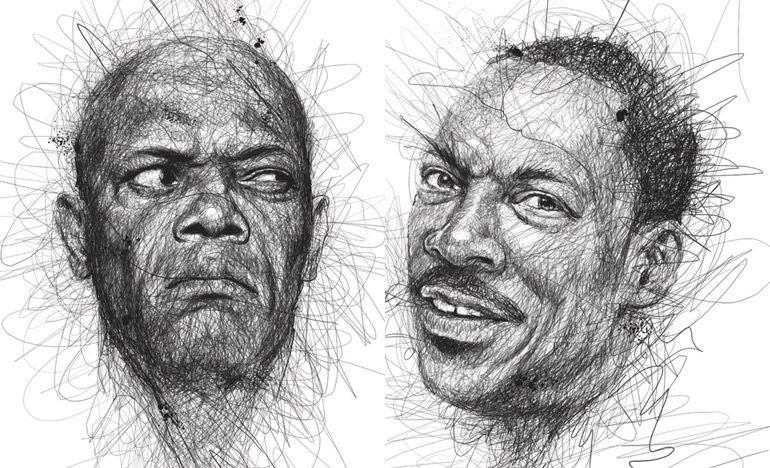 Samuel L. Jackson e Eddie Murphy desenhados por Vince Low - Créditos: Reprodução/Vince Low