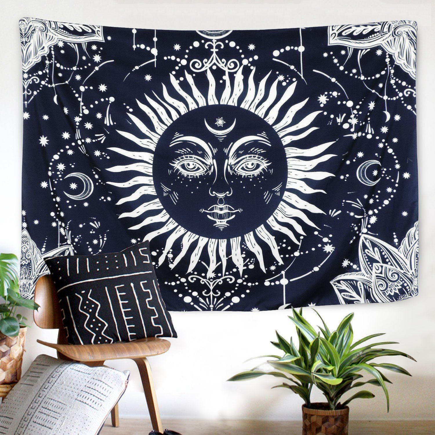 Hippie bohemian bedroom tumblr celestial smiling sun boho tapestry in   tumblr bedrooms