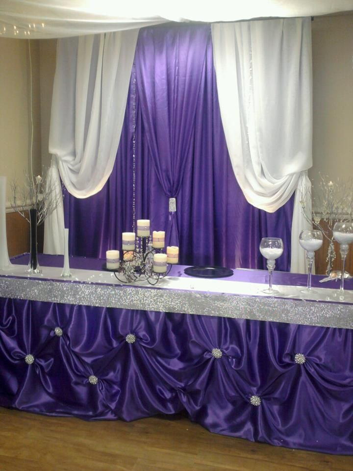 Purple Satin Backdrop And Head Table Designed And