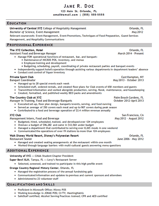 hotel manager resume example - Food And Beverage Manager Resume