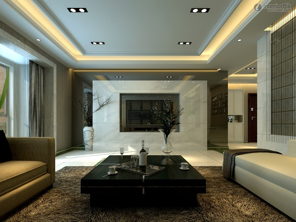 Luxury modern living tv room design white marble paneling for Family room ideas with tv