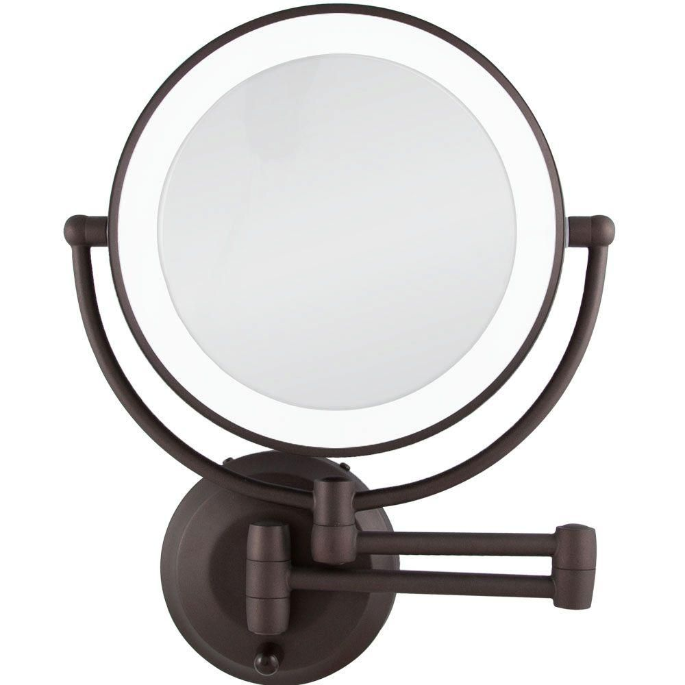 Zadro 15 In L X 12 In W Led Lighted Round Wall Mount Bi View 10x 1x Magnification Beauty Makeup Mirror In Bronze Ledw810 The Home Depot Wall Mounted Makeup Mirror Lighted Wall