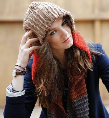 modèle tricot echarpe capuche femme Plus
