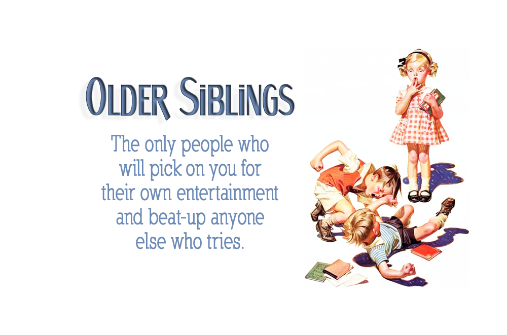 Older Siblings The Only People Who Will Pick On You For Their Own Entertainment And Beat Up Any Siblings Day Quotes National Sibling Day Sibling Quotes