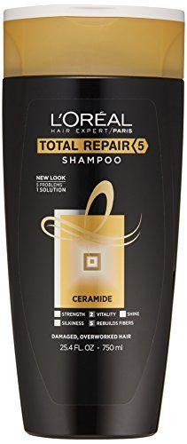 L Oreal Paris Hair Expert Total Repair 5 Restoring Shampoo 25 4 Fl Oz Packaging May Vary For More Information V Loreal Paris Hair Shampoo Hair Fibers