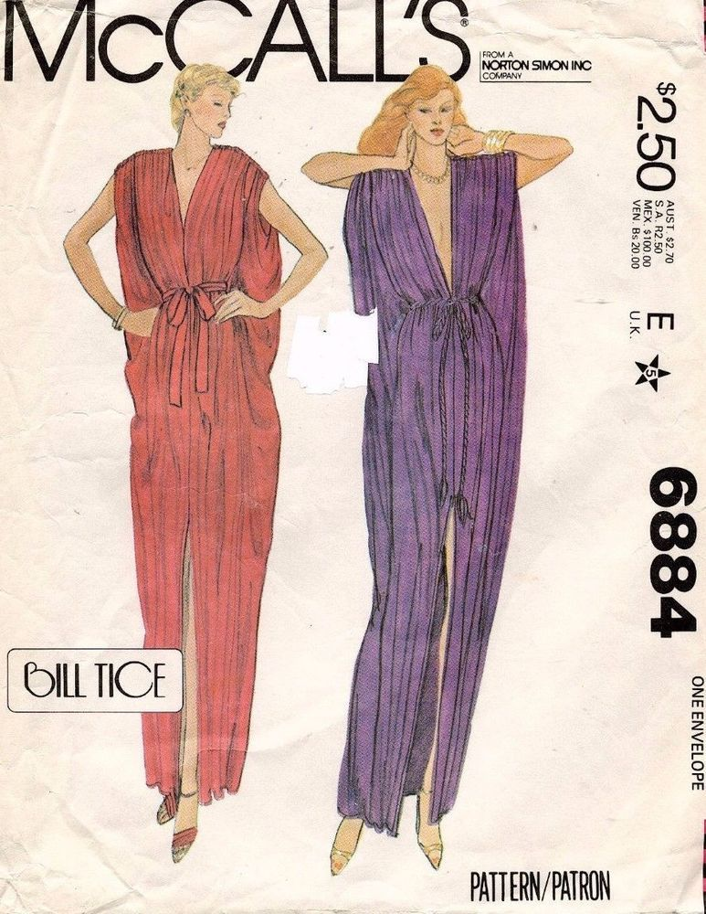 1970's VTG McCall's  Misses' Caftan Bill Tice Pattern 6884 Fits Sizes 6-20
