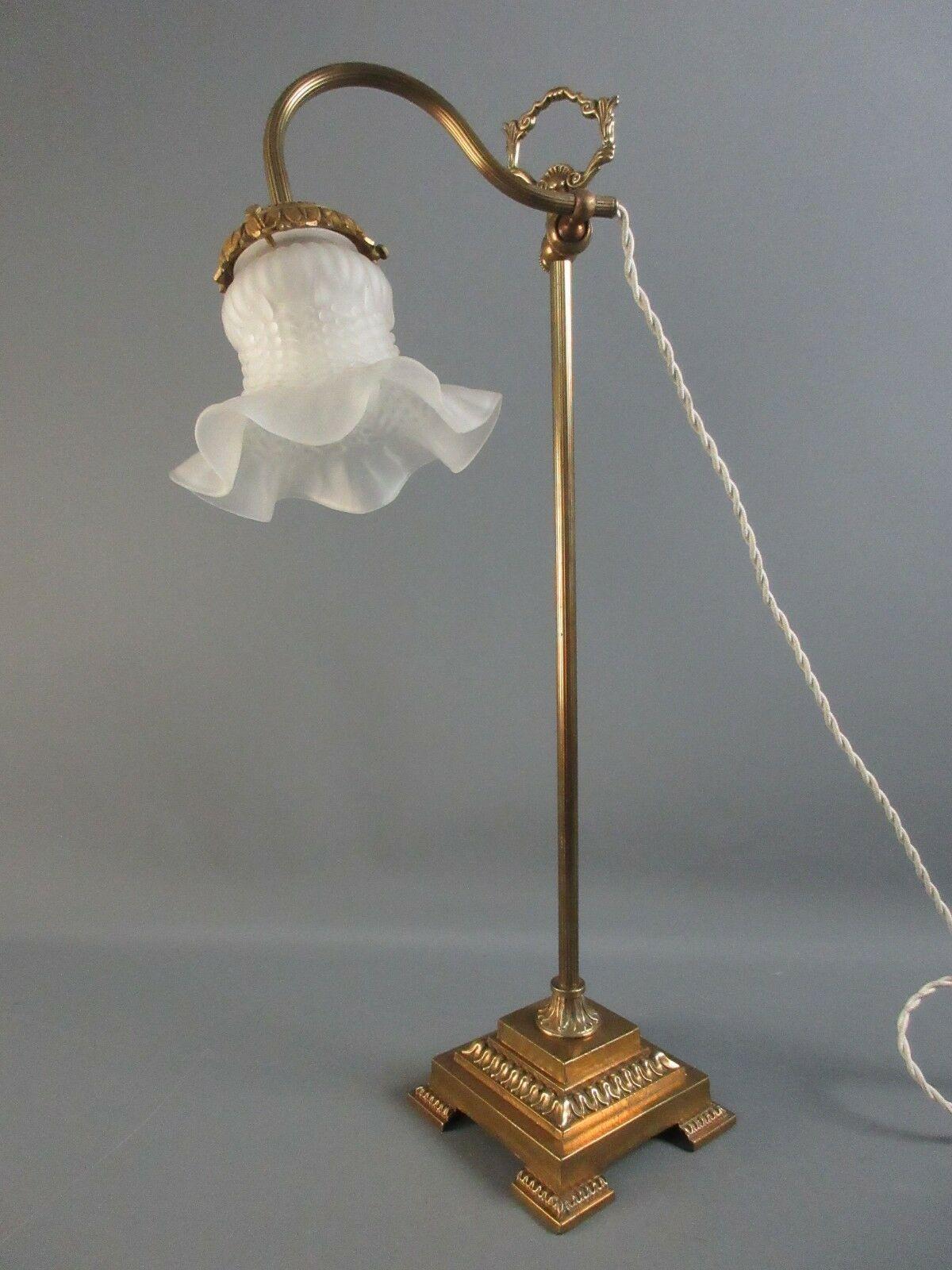 lampe ancienne bureau tulipe verre