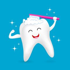 Healthy tooth character brushing with smiley face. Dental care concept. Illustration isolated on blue background. #dentalcare