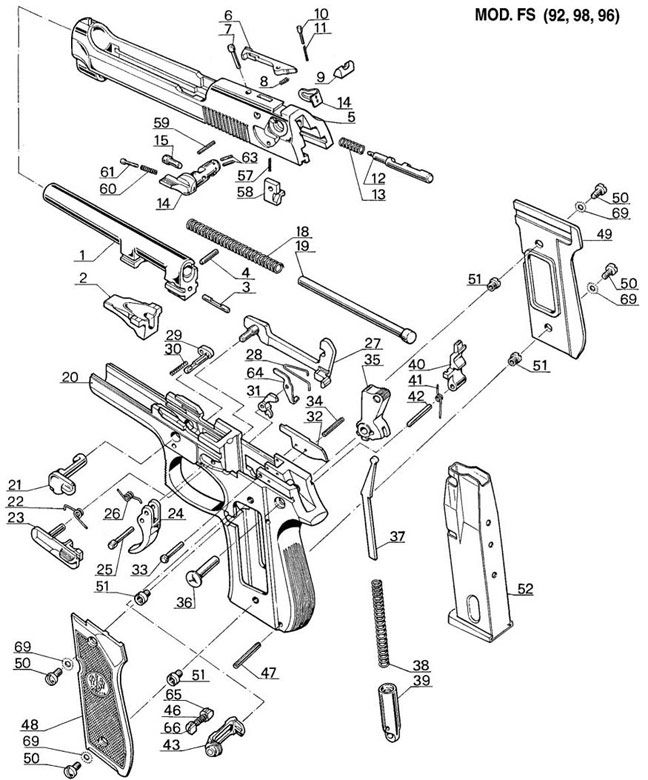 Beretta 92fs Exploded Parts View