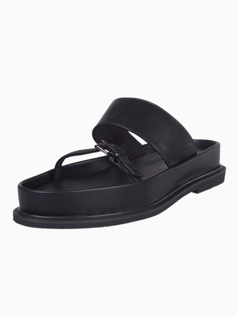Black Flat Sandals With Double Strap | Choies