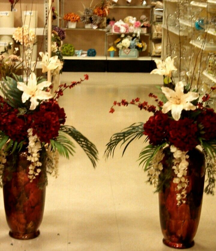 Flower Arrangement For Church Pulpit: Tall Red Hydrangea And Branch Floral Arrangement. Custom