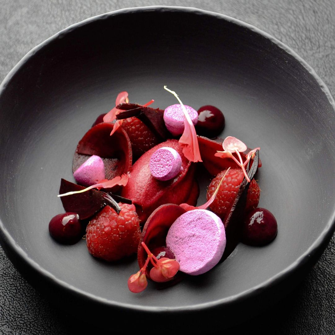 Raspberry Beetroot Black Currant By Chef Chefmichaeltimmermans By Do You Like Finedining Follow Food Carving Food Plating Food Concept