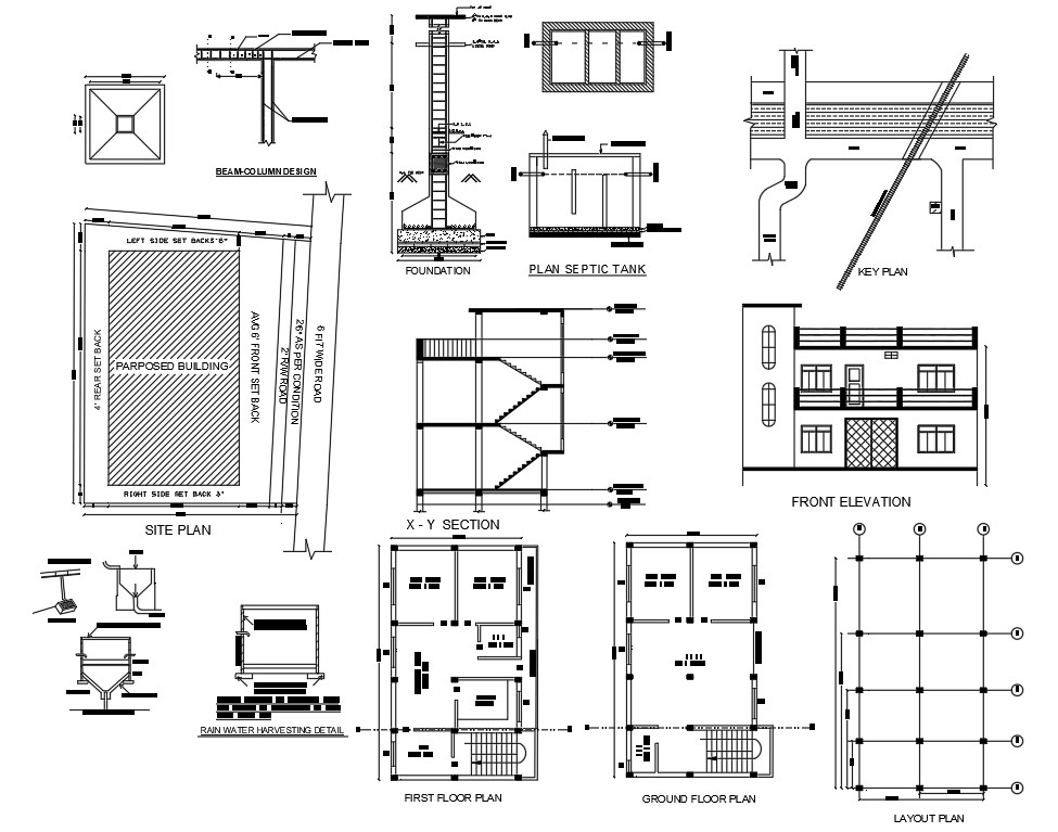House Ground Floor And First Floor Plan With Elevation Design Floor Plans Floor Plan Layout Row House Design