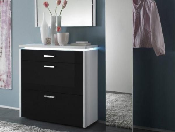 Luce 2 door 1 drawer shoe storage cabinet in black high gloss and ...