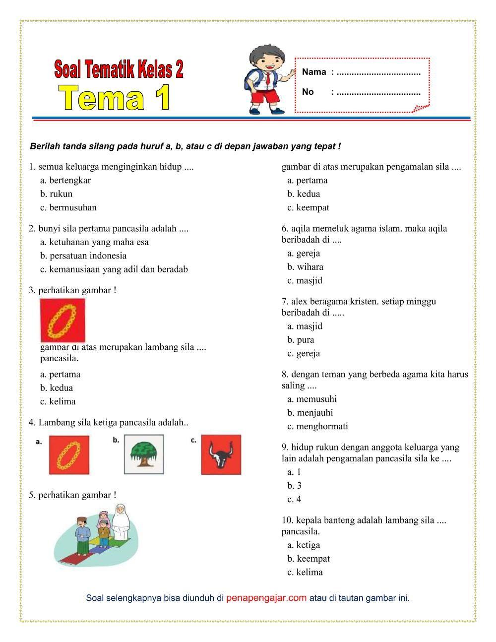 Soal Tema 1 Kelas 1 : kelas, Kelas, Semester, Kurikulum, Revisi, Matematika, Satu,, Belajar, Ejaan,, Sekolah, Dasar