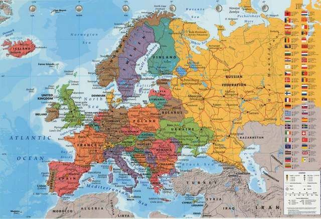Political map of europe education poster 24x36 gumiabroncs Image collections