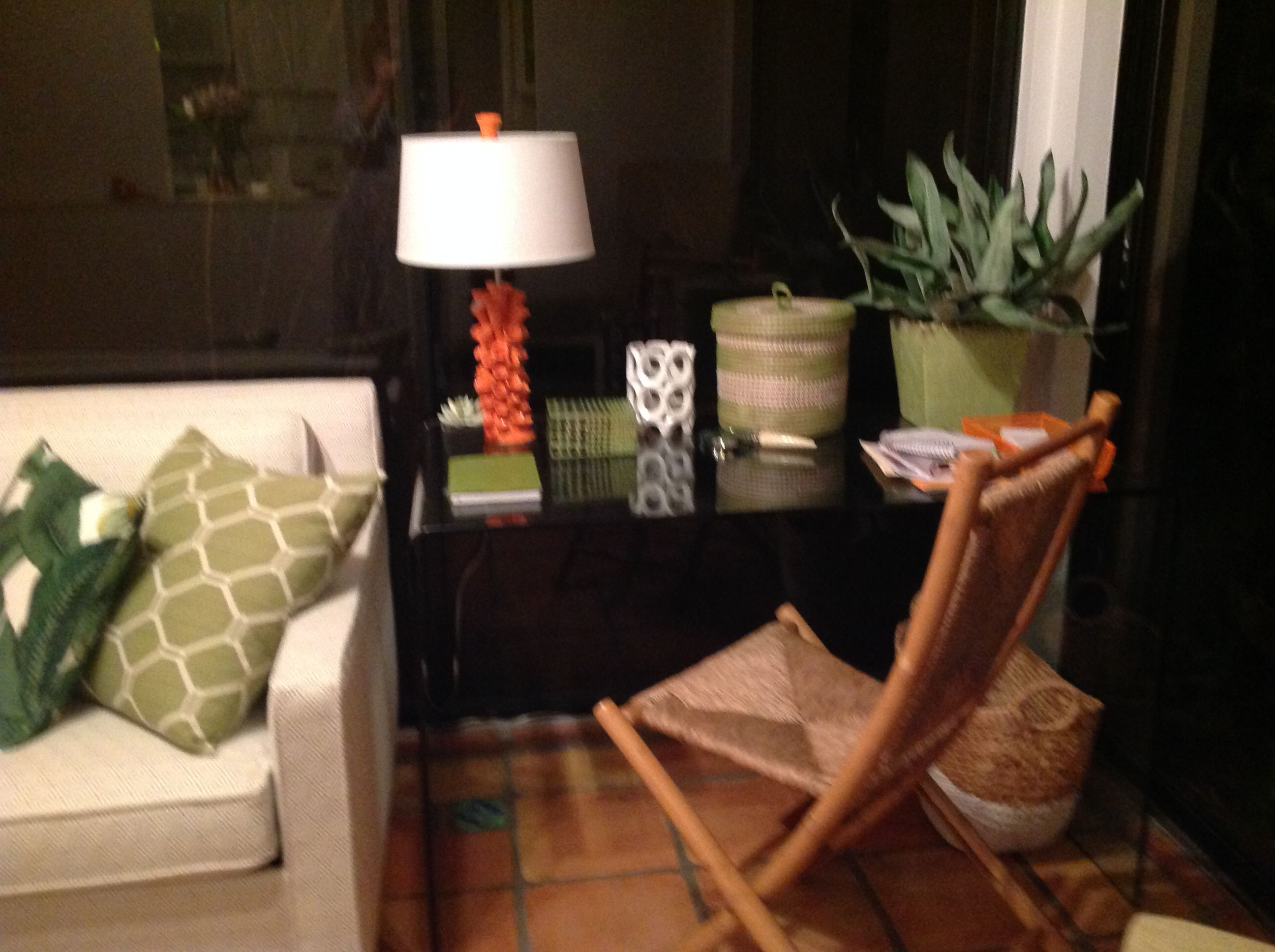 sunroom at night glass desk from wisteria  Glass desk, Old naples