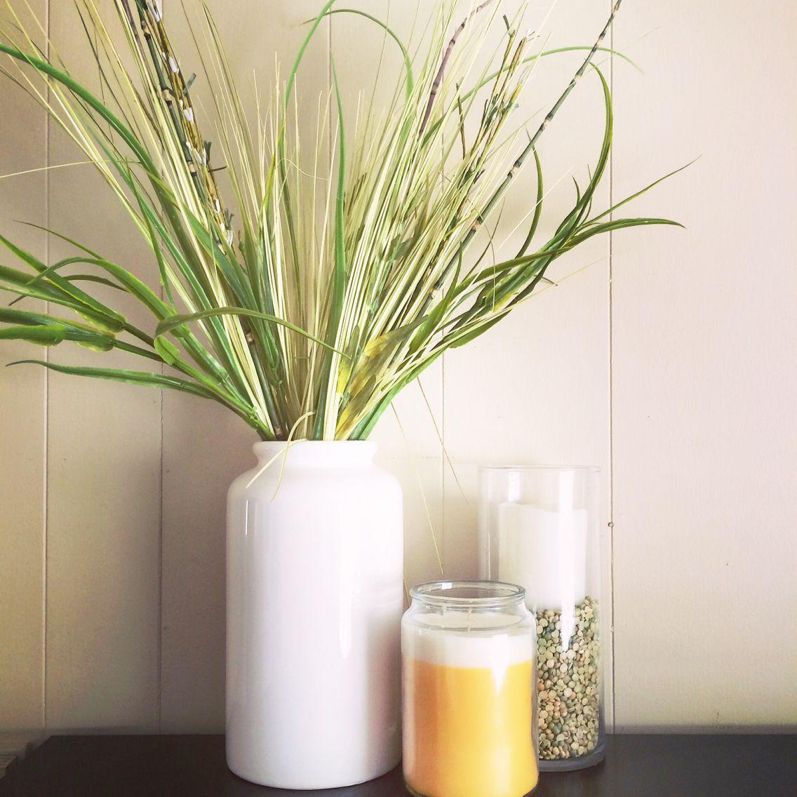 Simple spring decor joe fresh white vase joe fresh yellow candle