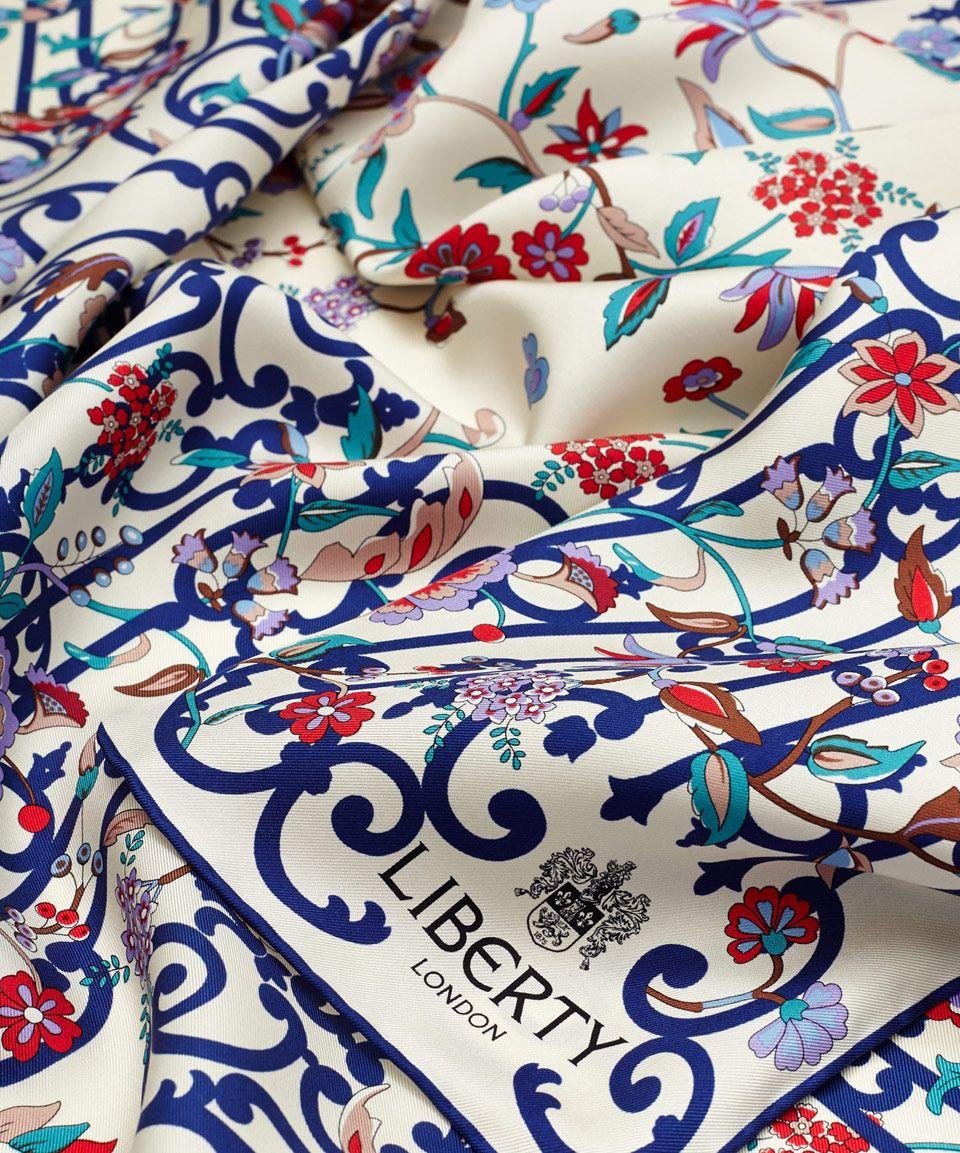 Liberty London Cream Garden Gates Silk Twill Scarf   Liberty ...