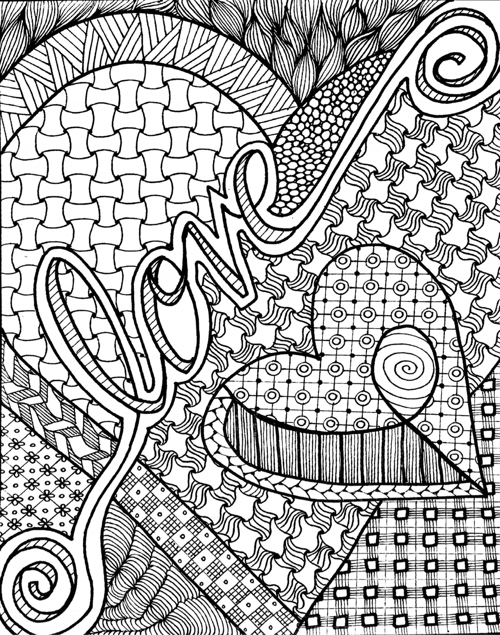 Free zentangleinspired 'love' coloring page for adults or
