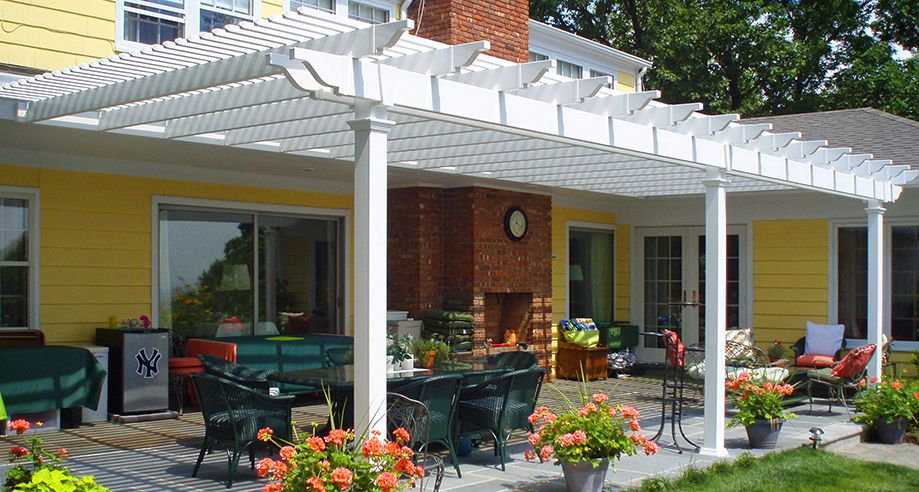 Attached Potomac Vinyl Pergola With 3 Columns Covering Patio. For A 20u0027 X 16