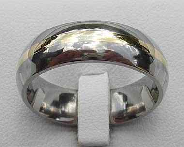 Domed Gold Inlaid Titanium Wedding Ring LOVE2HAVE UK