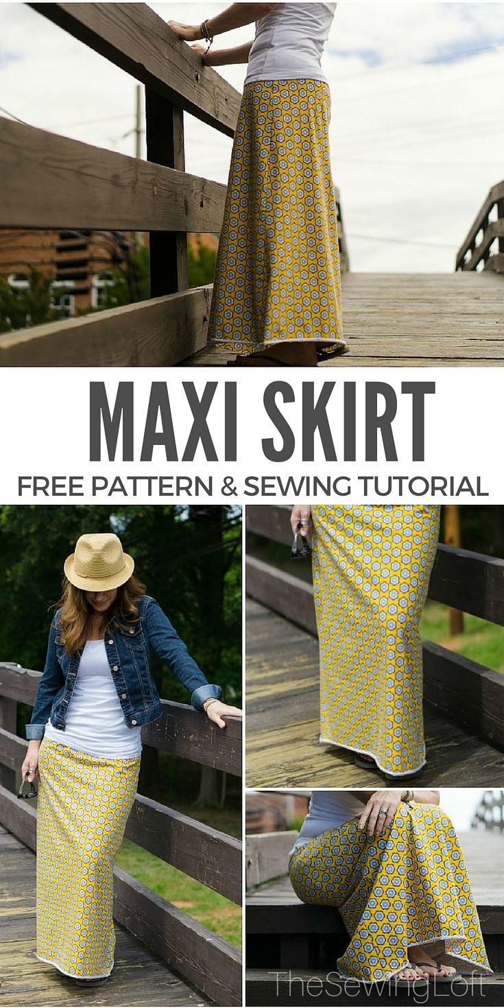Simple Maxi Skirt PDF Pattern---FREE | Rock, Nähen und Rock-Muster
