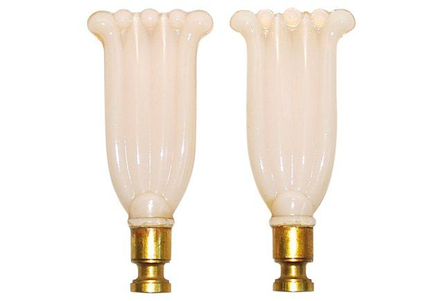 1940s Off-White Glass Finials, Pair