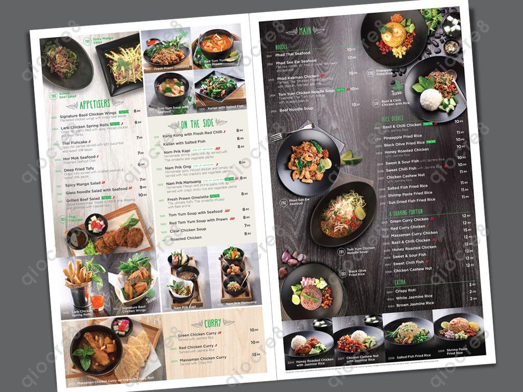 Basil Thai Kitchen Design And Layout Of Menu การถ ายภาพอาหาร อาหาร ร านอาหาร