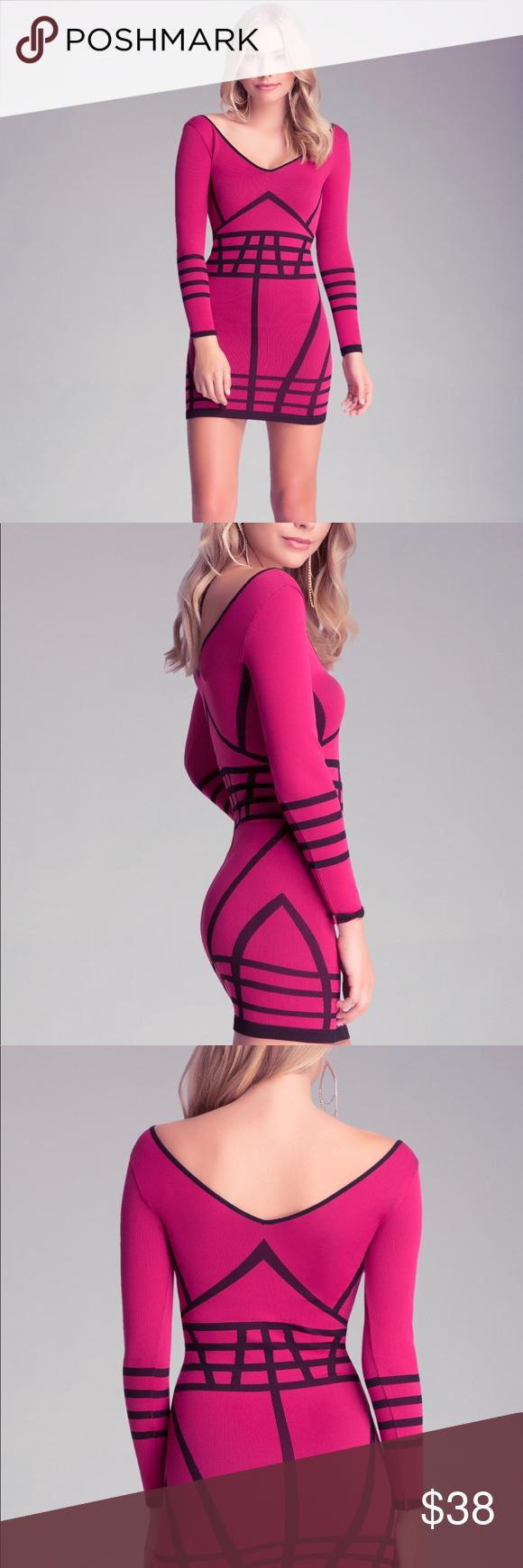 Bebe pinkblack long sleeve bodycon dress nwt black body body con