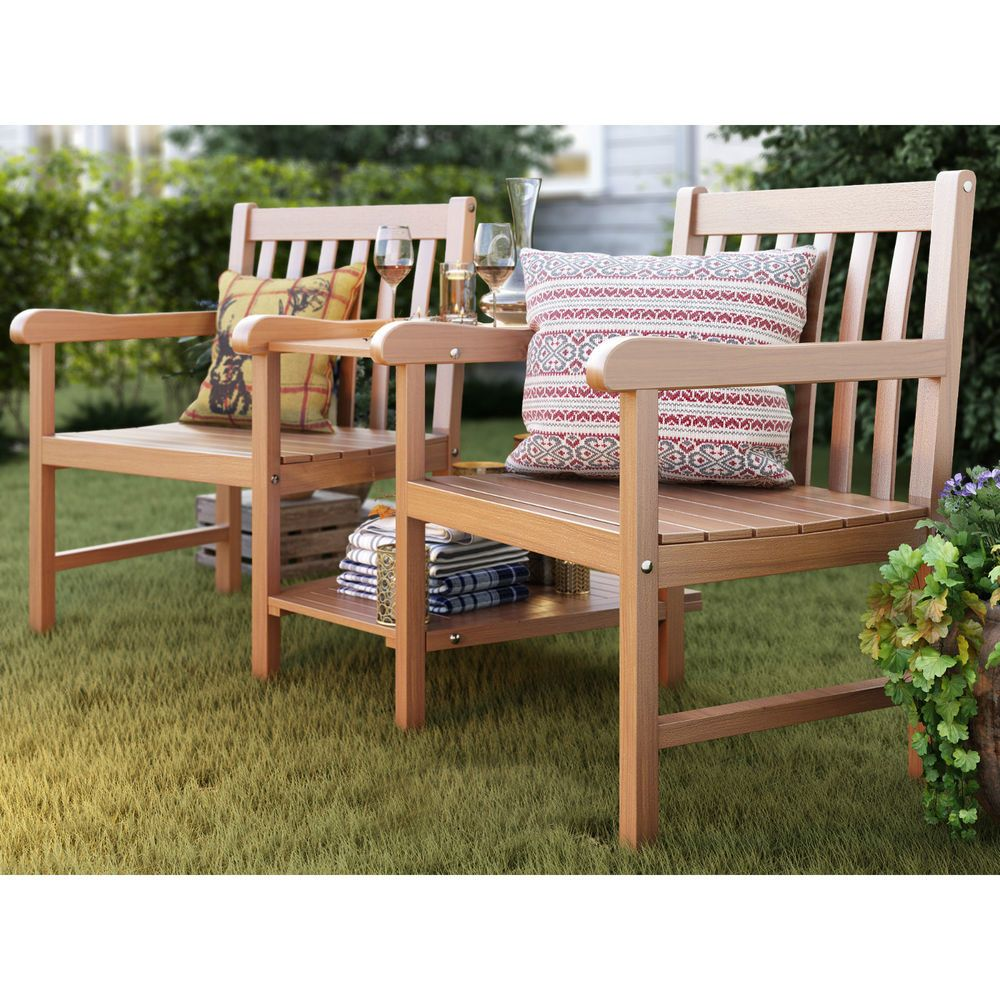 2 seater wooden love seat back rest table wood garden patio porch maple natural