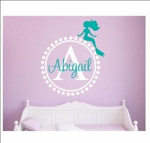 Amazon.com - Removable Vinyl Sticker-Personalized Monogram Name Wall Decals with Dots Circle Mermaid Wall Decals for Girls Dorm -