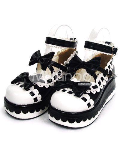 2 4/5'' Heel 1 4/5'' Platform Black And White PU Lolita Shoes - Milanoo.com