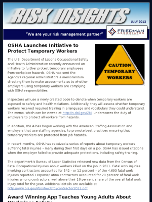 July Construction Risk Insights Articles OSHA Launches