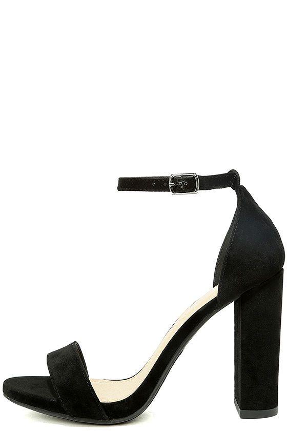 Viviana Black Velvet Ankle Strap Heels
