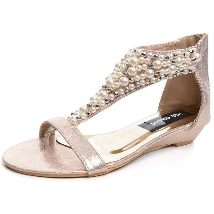 346ea7514c8 Small Wedge Sandals w  Pearl Detail