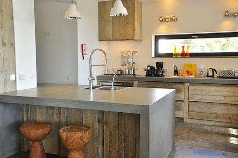 Encimera cemento, cocina de madera cocinas Pinterest Ideas