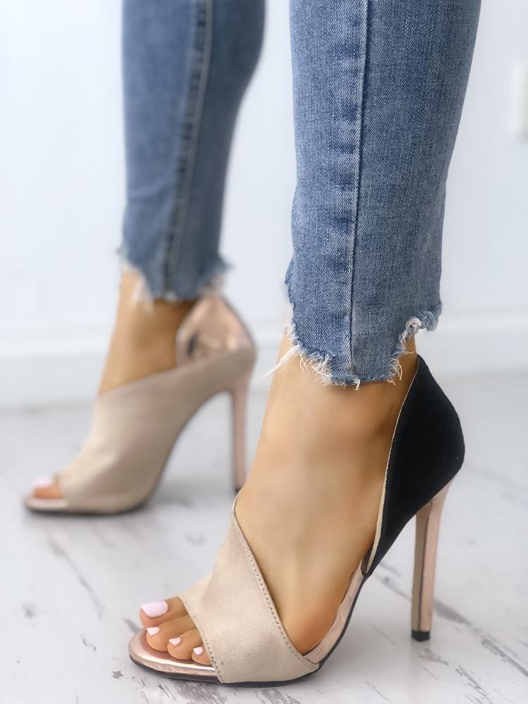 f2e0f87be182 Colorblock Peep Toe High-heeled Sandals
