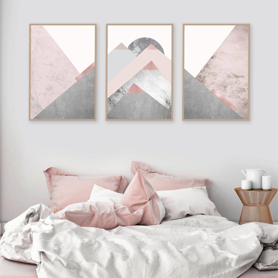 Printable Art Downloadable Prints Set Of 3 Mountains Blush Etsy Pink Bedroom Walls Bedroom Wall Art Pink Walls