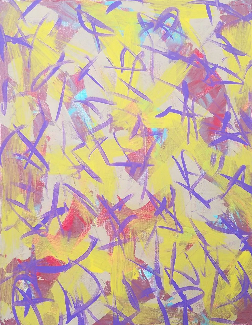 Yellow, Purple, Red and Tan Original Acrylic Abstract Painting on ...