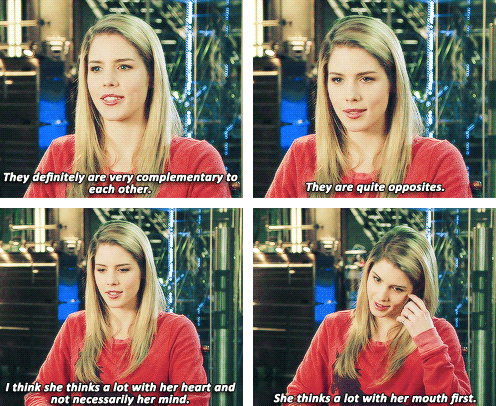 Emily Bett Rickards ♥ so cute she loves them just as much as the fans