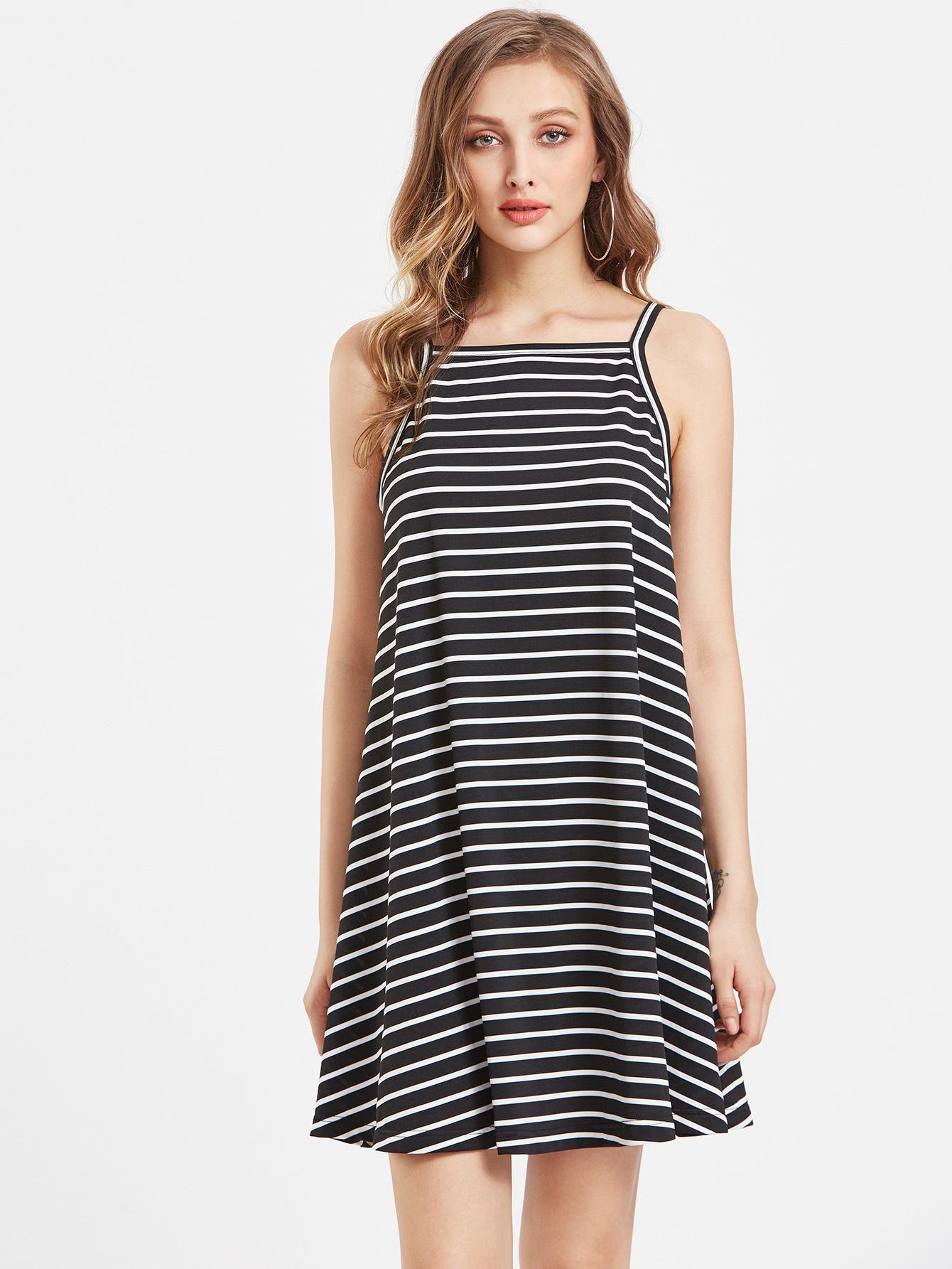 Haz Clic Para Ver Los Detalles Envíos Gratis A Toda España Striped Swing Cami Dress Black And White Casual Y Polyester Spaghetti Strap