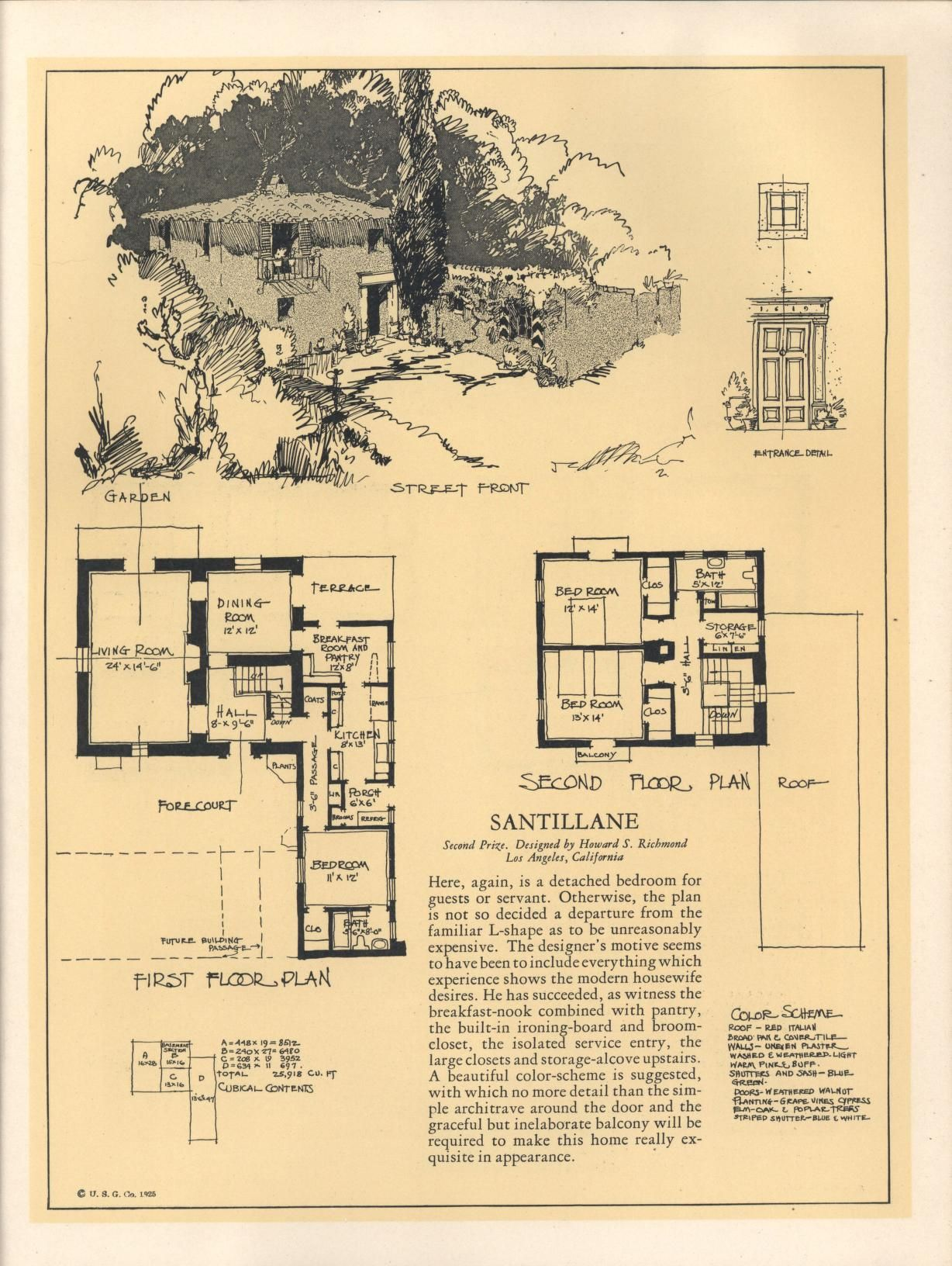 Seventy Two Designs For Fireproof Homes United States Gypsum Co Free Download Borrow And Str French House Plans Vintage House Plans Architectural Prints