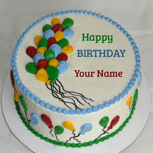 Balloon Birthday Cakes With Your Name For Profile Pics Print