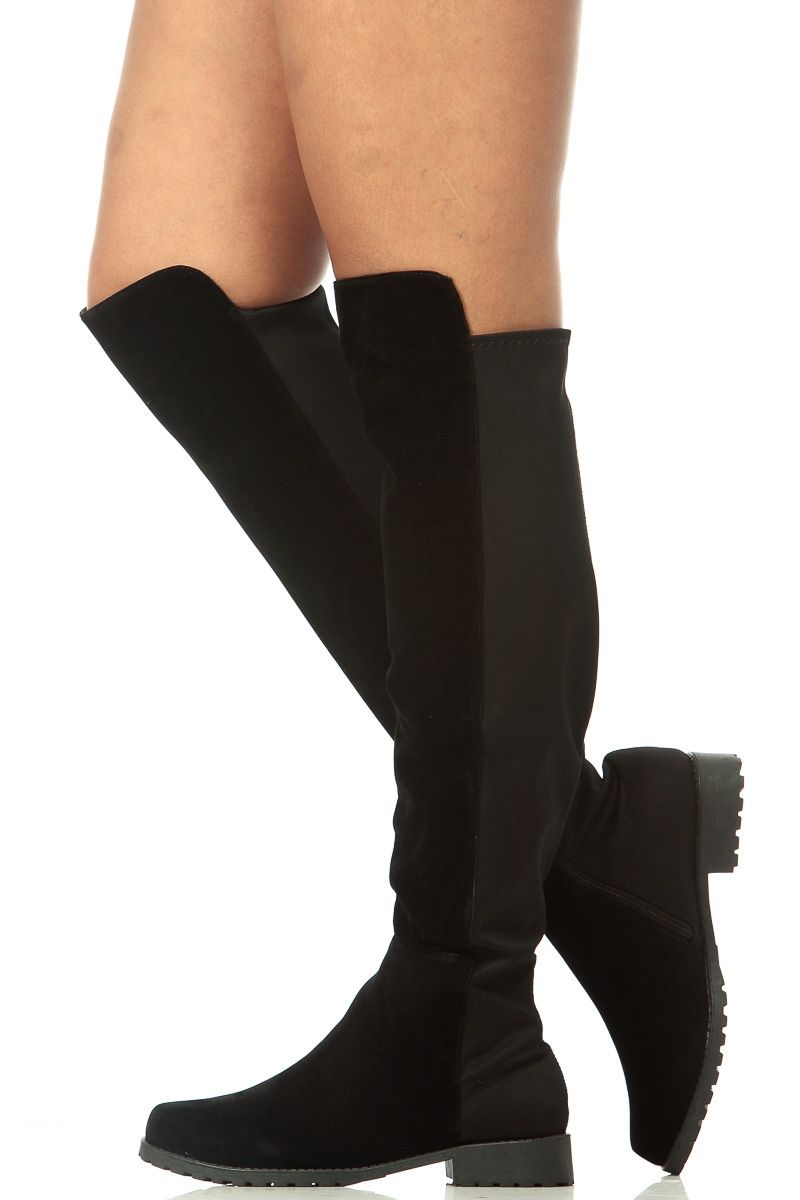 ee0c4ceba95 Black Faux Suede Two Toned Knee High Boots   Cicihot Boots Catalog women s  winter boots