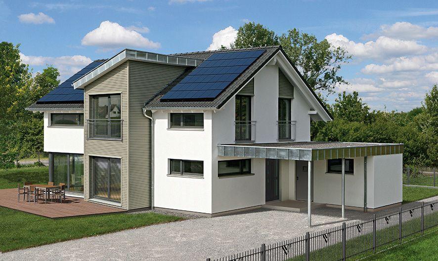 au enansicht haus erlangen fertighaus weiss plusenergyhouse plusenergiehaus musterhaus. Black Bedroom Furniture Sets. Home Design Ideas